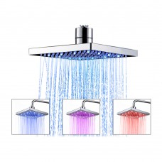 Shower Head, TANBURO LED High Pressure Square Shower Head, With Auto Change Temperature 3-Colors Hand Shower 8 Inch For Bathroom