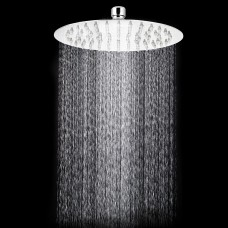 TANBURO Rain shower head round anti-limescale shower economical ABS with stainless steel Ultra-thin shower 8 inch gloss chrome mirror effect for bathroom